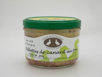 Rillette de canard au foie gras 200 gr